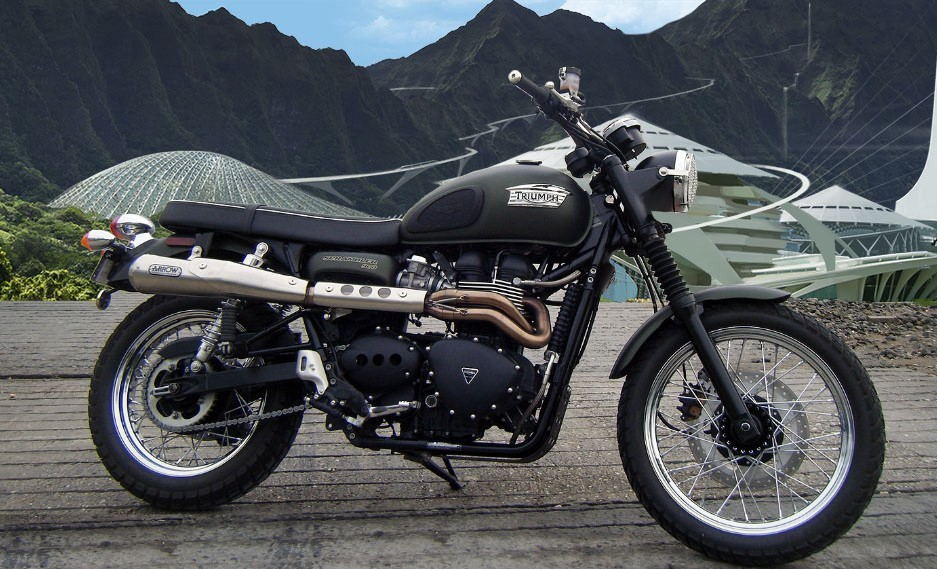 The Triumph Scrambler in Jurassic trim. Source