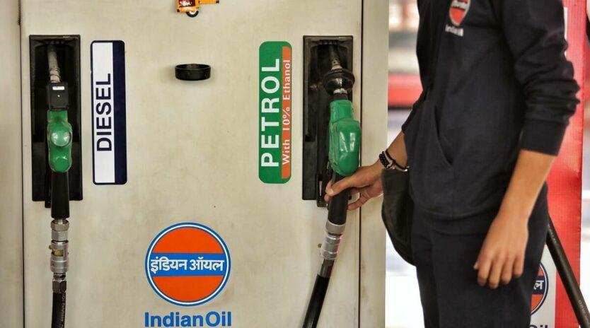 Petrol and diesel at fuel pump
